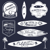 Vector set of vintage surfing logos,signs for textile,t-shirts print etc. Freedom, California, Hawaii typography poster. Vector set of vintage surfing logos Stock Photos