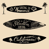 Vector set of vintage surfing logos,signs for textile,t-shirts print etc. Freedom, California, Hawaii typography poster. Vector set of vintage surfing logos Royalty Free Stock Image