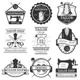 Vector set of vintage tailor labels, badges and logos. Vector set of vintage tailor logos, emblems, badges, labels isolated on white background. Typography Stock Photo