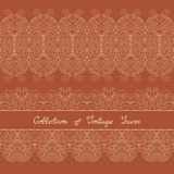 Vector Set of Vintage Template with Ornate Laces Royalty Free Stock Photo
