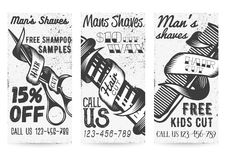Vector set of vintage templates for barber shops offers, promotions. Vector set of black and white templates for barber shops offers and promotions in vintage Stock Images
