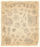 Vector set of vintage Thanksgiving design elements. Royalty Free Stock Images