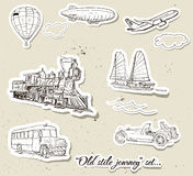 Vector set of vintage transport Royalty Free Stock Image