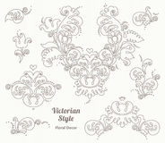 Vector set of vintage vignettes in Victorian style. Royalty Free Stock Photos