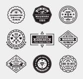 Vector set of vintage wedding badges, sings, logos. Royalty Free Stock Image