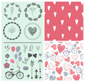 Vector set of vintage wedding design elements, invitation. Seamless hand drawn doodle patterns with hearts and bicycles Royalty Free Stock Photos