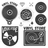 Vector set of vinyl disc and player. Music records store logotypes, design elements. Vector set of vinyl disc and player. Vinyl records store logotypes and Royalty Free Stock Photography