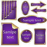 Vector set of violet and golden framed labels Stock Image