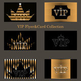 Vector set of VIP cards with golden foil, diamonds Royalty Free Stock Photo