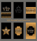Vector set of VIP cards with golden foil, diamonds Stock Photos