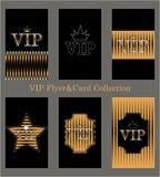 Vector set of VIP cards with golden foil, diamonds Stock Photos