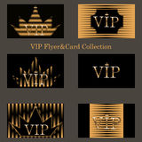 Vector set of VIP cards with golden foil Stock Images