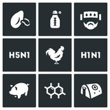 Vector Set of Virus Icons. Respiratory, Thermometer, Sick, Temperature, Avian and Swine Flu, Cells, Hospital. Royalty Free Stock Photos