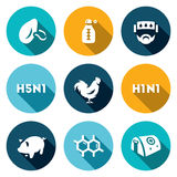 Vector Set of Virus Icons. Respiratory, Thermometer, Sick, Temperature, Avian and Swine Flu, Cells, Hospital. Royalty Free Stock Photo