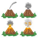 Vector set of volcano eruption illustrations Royalty Free Stock Photo