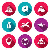 Vector Set of Volcano Icons. Eruption, Smoke, Hill, Temperature, Plane, Seismic, Location, Monitoring, Crater. Prohibition flying aircraft during the eruption Stock Photography