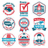Vector set of Vote labels and badges for elections, debates vector illustration