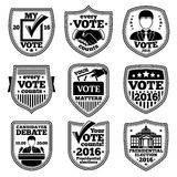 Vector set of vote labels. For presidential election, debates, ads etc. Royalty Free Stock Images
