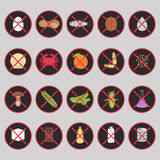 Vector set of warning labels for food allergens. Gluten, lactose, etc - and GMO Royalty Free Stock Photos
