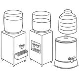 Vector set of water cooler. Hand drawn cartoon, doodle illustration Stock Photography