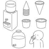 Vector set of water cooler. Hand drawn cartoon, doodle illustration Stock Image