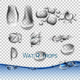 Vector set water drops, transparent Stock Photos