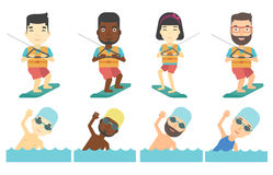 Vector set of water sport characters. Royalty Free Stock Image