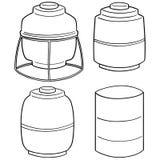Vector set of water storage tank. Hand drawn cartoon, doodle illustration Royalty Free Stock Photos
