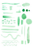Vector set of watercolor brush strokes and elements Stock Photo