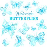 Vector set of watercolor butterflies. Blue watercolor butterflies isolated on white background Royalty Free Stock Images