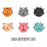 Vector set of watercolor cats. Hand-drawn style. Cute animals.  royalty free illustration
