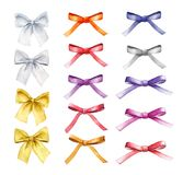 Vector Set of watercolor colorful bows, hand painted isolated on a white background vector illustration