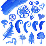 Vector set of watercolor elements. Vector collection of watercolor elements for design and decoration, blue paint  on white background Stock Images