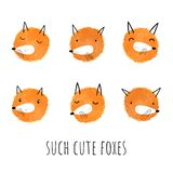 Vector set of watercolor foxes. Hand-drawn style. Cute animals.  vector illustration
