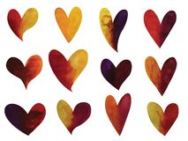 Vector set of watercolor gradient hearts. Vecotr set of colorful hand drawn watercolor gradient hearts isolated on white vector illustration
