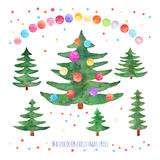 Vector set of watercolor green Christmas trees with balls on whi Stock Photo