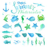 Vector set of watercolor marine life. Royalty Free Stock Photos