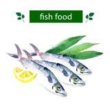 Vector set of watercolor sea food. Stock Image