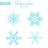 Vector set of watercolor snowflakes. Royalty Free Stock Photo