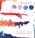 Vector set: watercolor stains, splashes and spots. elements for Royalty Free Stock Photography