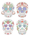Vector Set of Watercolor Style Day of the Dead Skulls Royalty Free Stock Photos