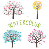 Vector Set of Watercolor Style Trees Royalty Free Stock Photo