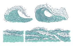 Vector set waves sea ocean. Big and small azure bursts splash with foam and bubbles. Outline sketch illustration. Isolated on white background royalty free illustration