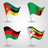 Vector set of waving flags southeast africa on silver pole Stock Photo