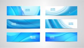 Vector set of wavy banners, blue wave web headers. Water vibrant abstract background, horizontal orientation stock illustration