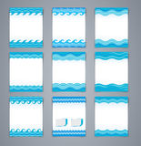 Vector set wavy layout brochures or poster, magazine cover. Or corporate design template advertisment in blue colors Stock Image