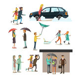 Vector set of weather concept flat style design elements Stock Image