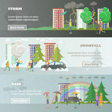 Vector set of weather concept horizontal banners in flat style Royalty Free Stock Image