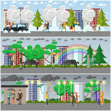 Vector set of weather concept posters, banners in flat style Royalty Free Stock Photos