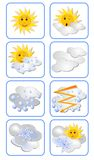 Vector set of weather forecast icons for all weather types. Sun has an expression on his face Royalty Free Stock Photography